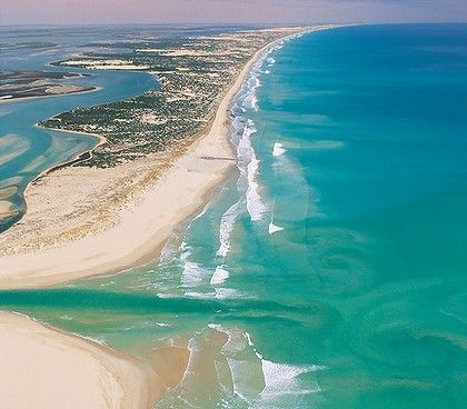 Murray River mouth.... Coorong, South Australia (this silts up often and has to be dredged)