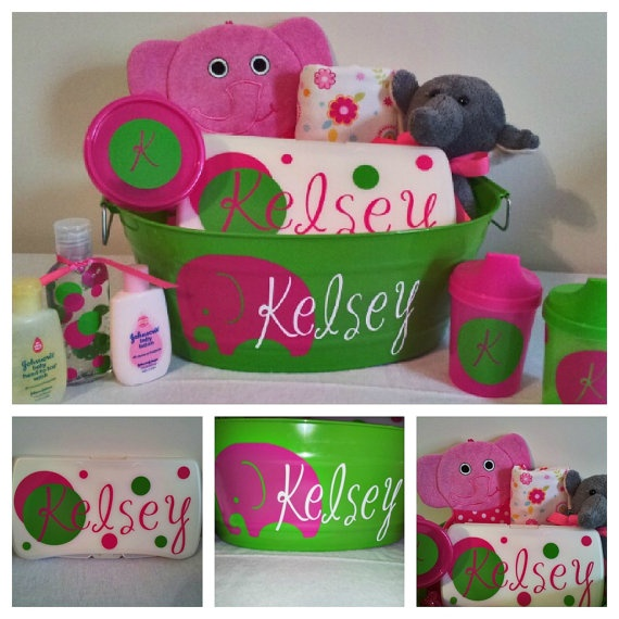Personalized Baby Girl Gift Basket for Baby Shower. someone get me this when I have a kid please