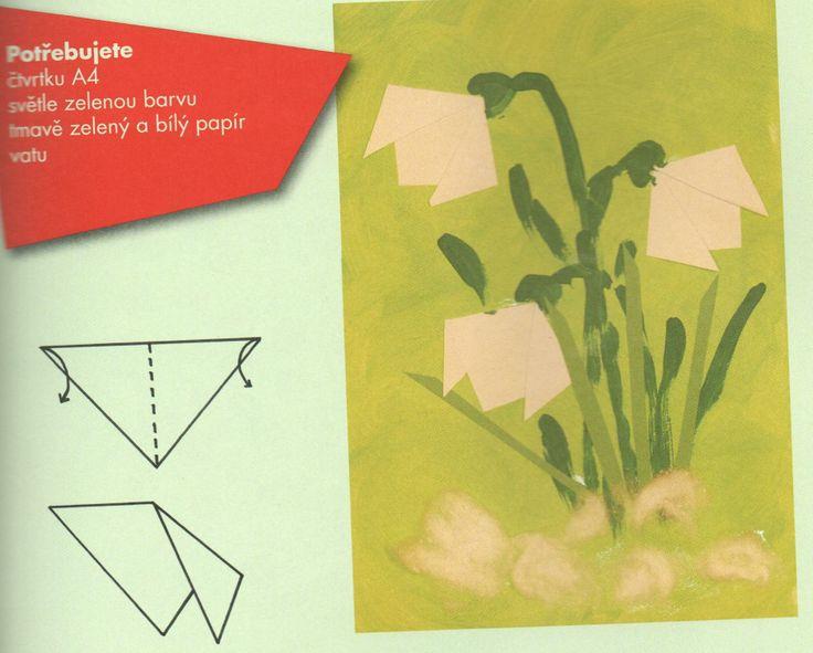 sněženka - kombinovaná technika (origami papír + kresba)