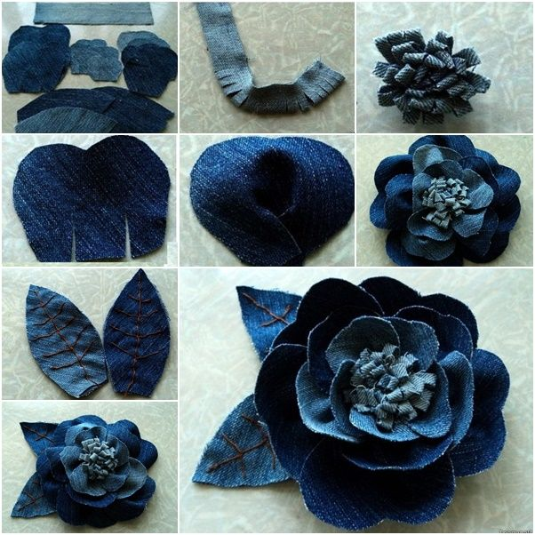 DIY Beautiful Rose flower Out of Jeans   .  Check template -> http://wonderfuldiy.com/wonderful-diy-beautiful-rose-flower-out-of-jeans/