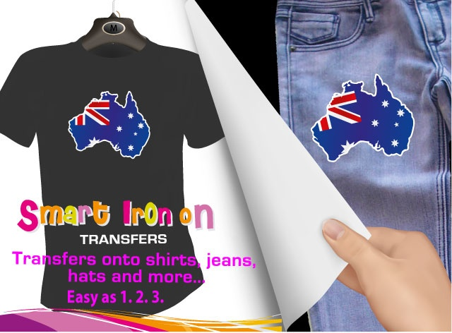 """Australian flag"" Iron on Transfer, $3.95 (http://www.wholesaleprinters.com.au/australian-flag-iron-on-transfer)"