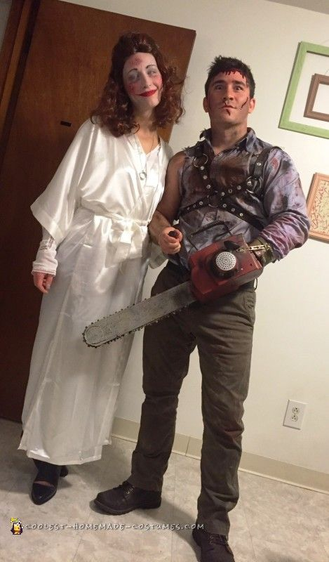 ash and linda costumes from the evil dead couple halloweenscary - Quick Scary Halloween Costumes