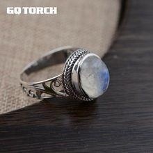 GQTORCH 925 Sterling Silver Genuine Vintage Moonstone Anillos Para Las Mujeres de Estilo Antiguo Hueco de La Flor Tallada Anéis Feminino(China (Mainland))