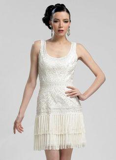 Sue Wong N3207 Fringe Flapper Dress White