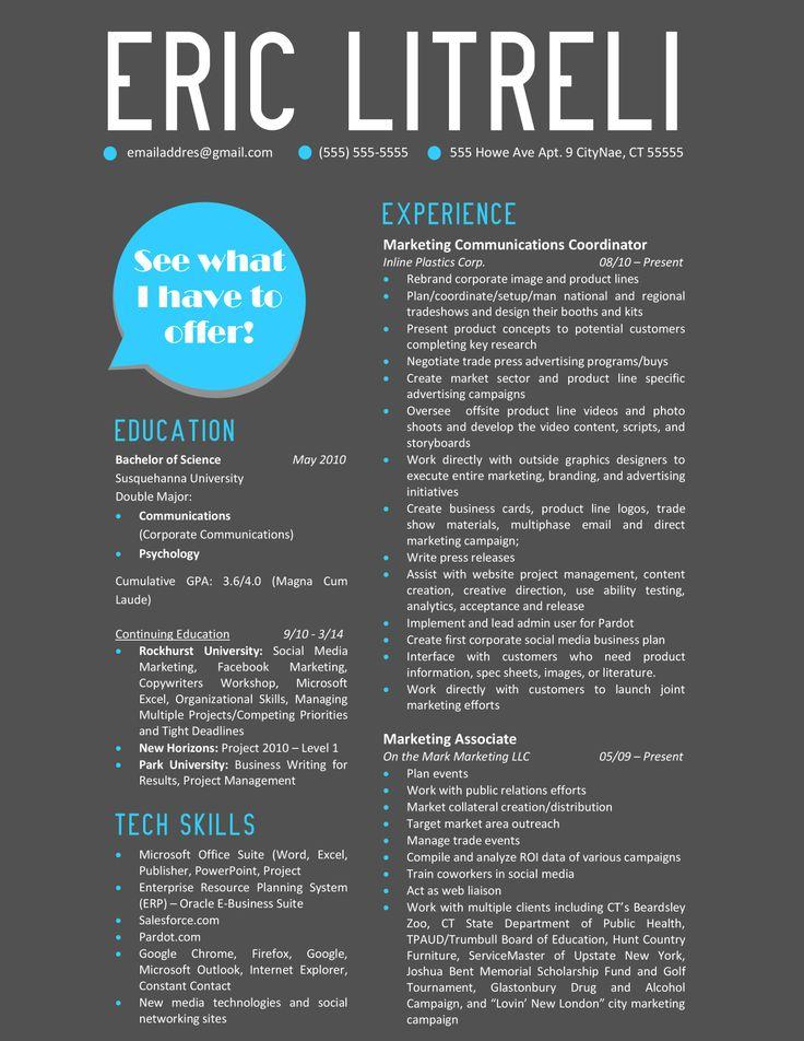 Best 25+ Marketing resume ideas on Pinterest Resume, Resume tips - marketing resumes