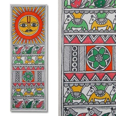 Madhubani painting featuring the sun lord and peacocks-Home Decor-Kalakruti