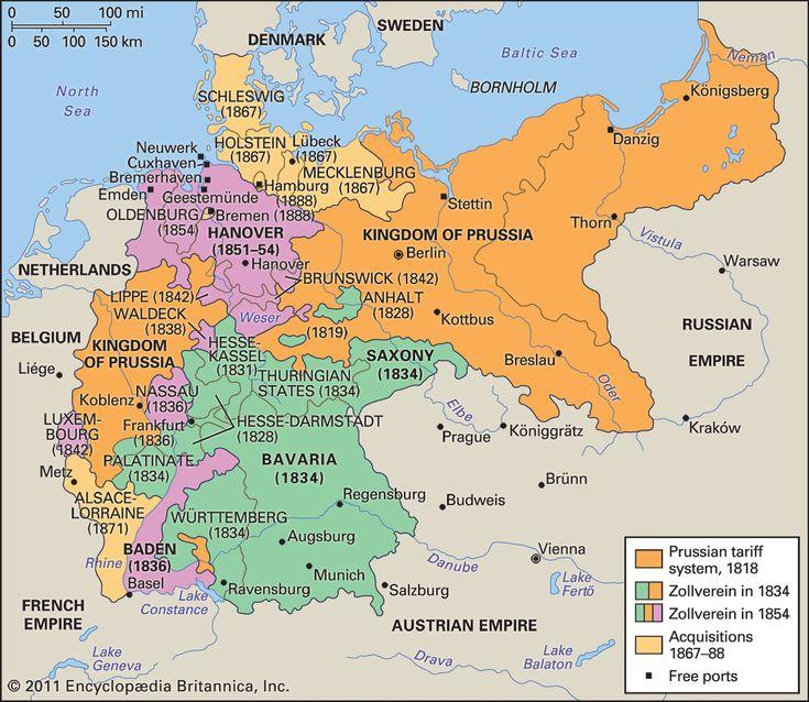 German Customs Union (Zollverein) 1834-1919 [https://en.wikipedia.org/wiki/Zollverein]