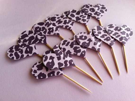 Heart cupcake toppers party picks purple cheetah by kandvcrafts our products pinterest - Handmade gs silverware ...