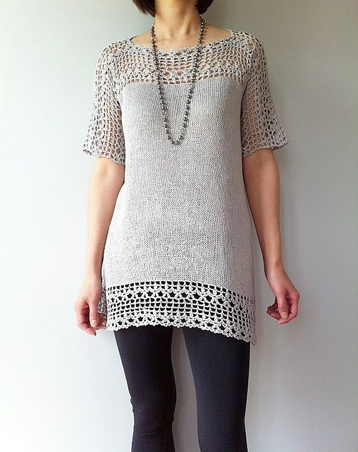Ravelry: Julia - floral lace tunic (crochet+knit) pattern by Vicky Chan