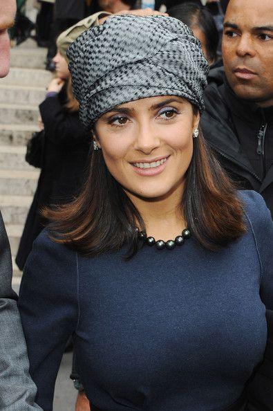 Salma Hayek Accessories  Paris fashion week- turban wrap