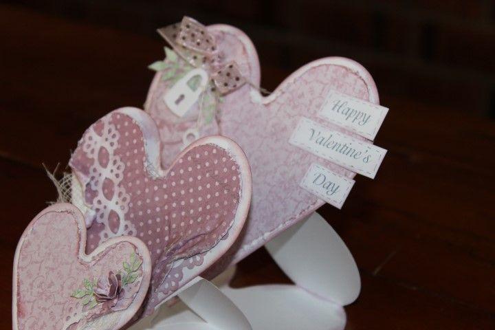 Charlottes Web Scrapbooking, Stamping & Papercraft - Triple Easel Heart Card - Helen's Class