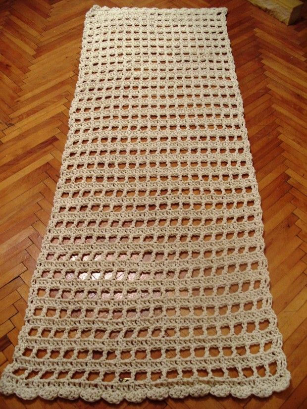 Crochet carpet.