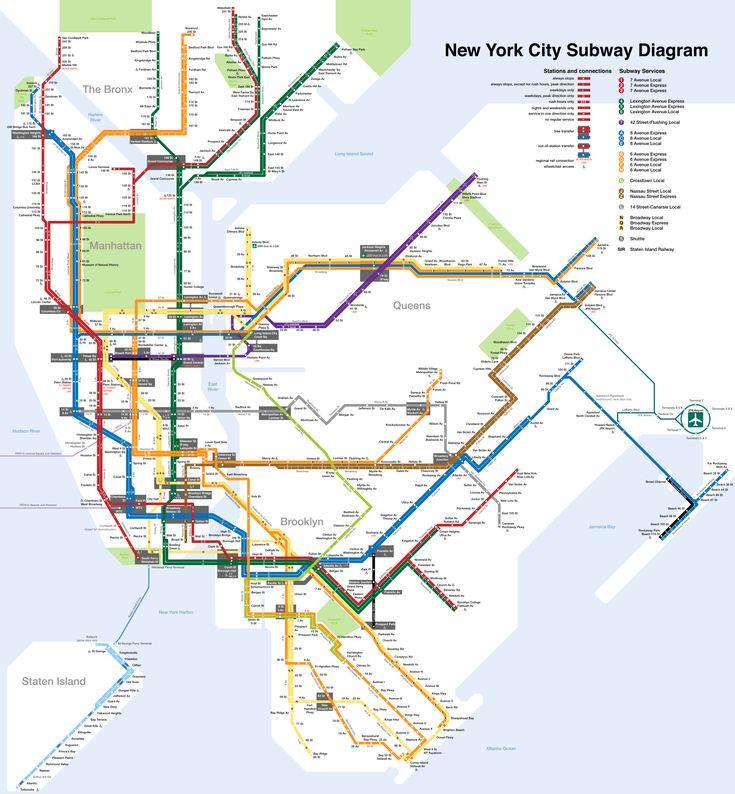 Subway : New York U-Bahn-Karte , Vereinigte Staaten   New York City U-Bahn ist eine der ältesten, belebtesten, größten und komplexesten S-Bahn-System in den Vereinigten Staaten und in der ganzen Welt. Am 27. Oktober 1904 wurde die erste U-Bahnlinie eröffnet, die Interborough Rapid Transit Subway (IRT). New York ist eine sehr bevölkerte Stadt und das ist in den von 1,65 Milliarden Fahrgäste, die die U-Bahn im Jahr 2012 so hoch wie die Zahl scheint gebraucht haben, ist New York City…