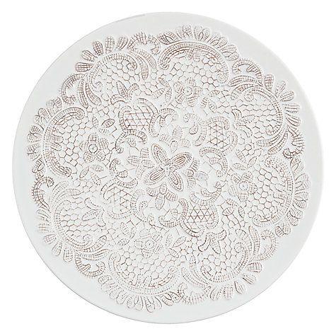 Buy John Lewis Lace Platter, White/ Taupe Online at johnlewis.com