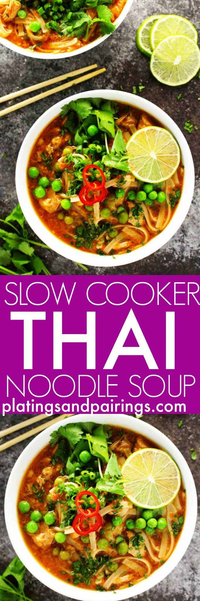 This Easy Slow Cooker Thai Chicken Noodle Soup makes it easy to enjoy your favorite spicy, aromatic, authentic Thai soup at home! | platingsandpairings.com (Vegan Curry Slow Cooker)