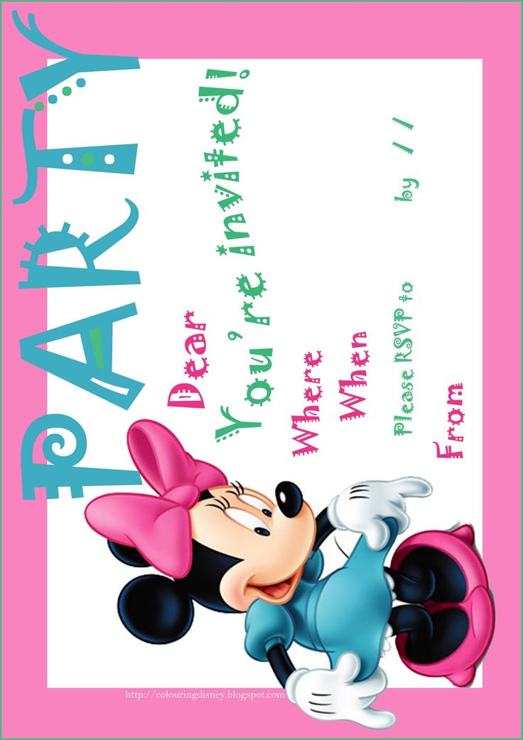 if you are about to have a birthday party soon you might like to use this free printable minnie mouse party invite with which to invite