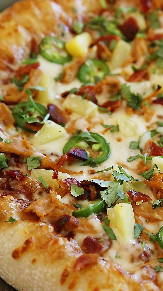 Pulled Pork Jalapeno Pineapple Pizza with Bacon and Cilantro