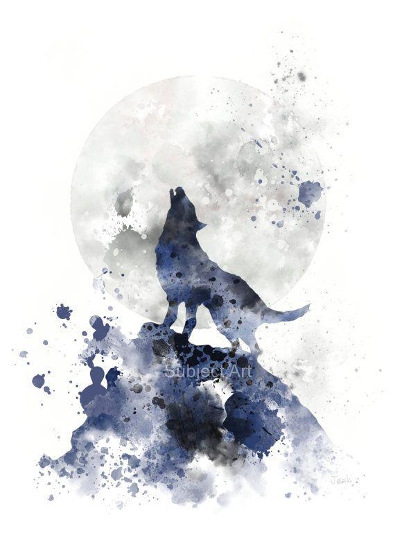 Heulender Wolf KUNSTDRUCK Illustration Moon Tier von SubjectArt