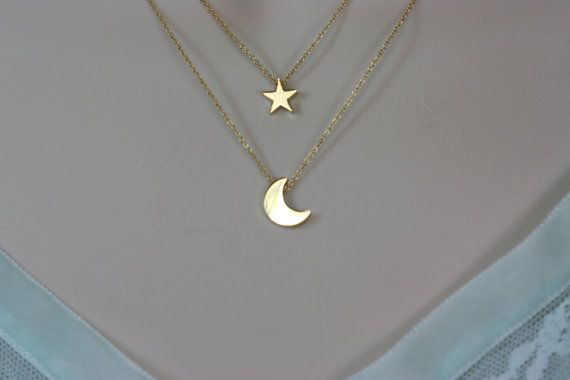 New Moon Star double gold chain Necklace   Free by zara1009, $34.00