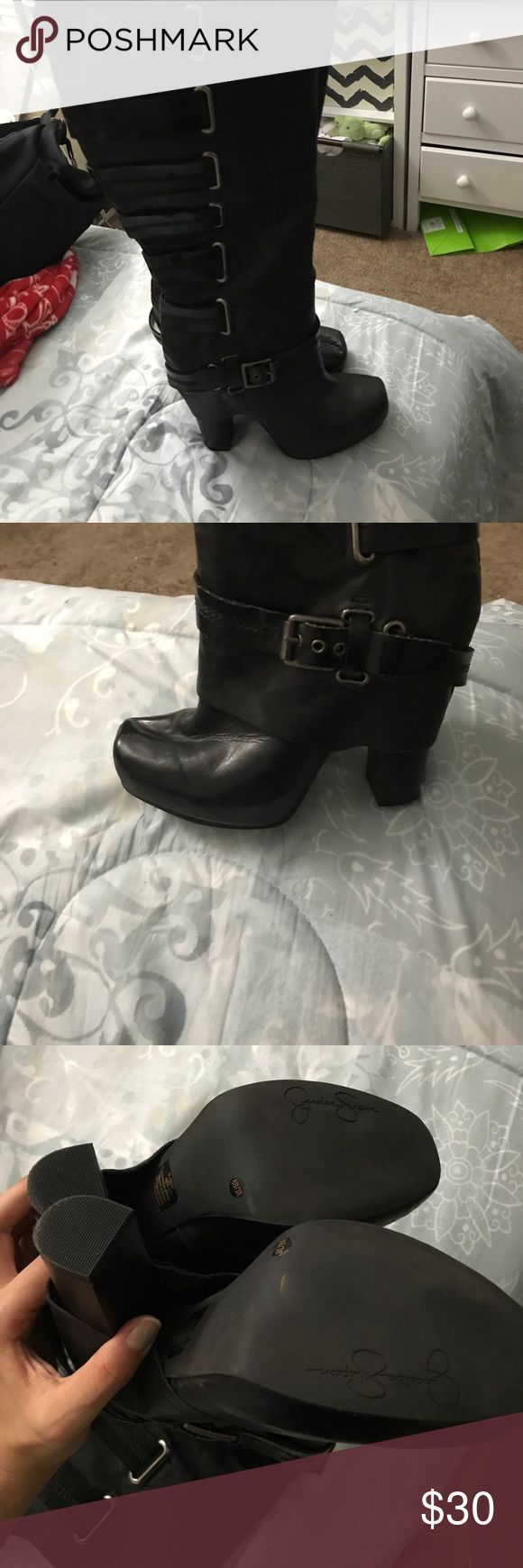 Jessica Simpson boots Very cute black boots in new condition the only thing is that one of the boots has a fold shown in pic. Other than that they are great Jessica Simpson Shoes Heeled Boots