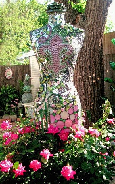 Mannequin madness: A brilliant concept, perfectly executed…Becky's glittering garden mannequin