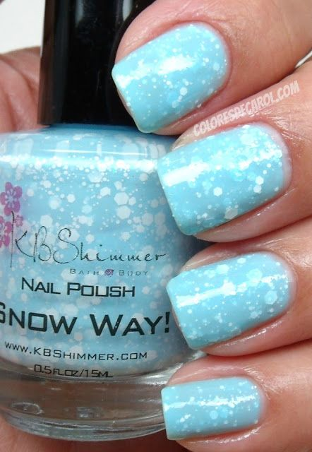 Snow Way!  A sky blue base with white glitters and tiny iridescent glitters.  From KB Shimmer