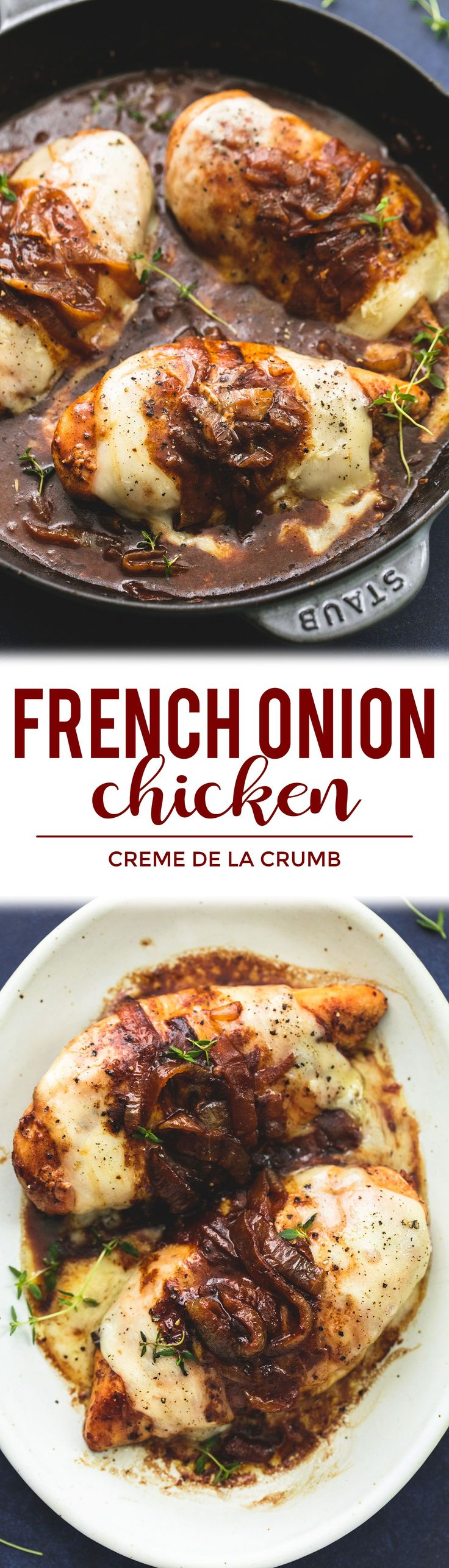 French Onion Chicken Skillet - juicy chicken smothered in caramelized onion gravy, with melty provolone, Swiss, and parmesan cheeses! | lecremedelacrumb.com