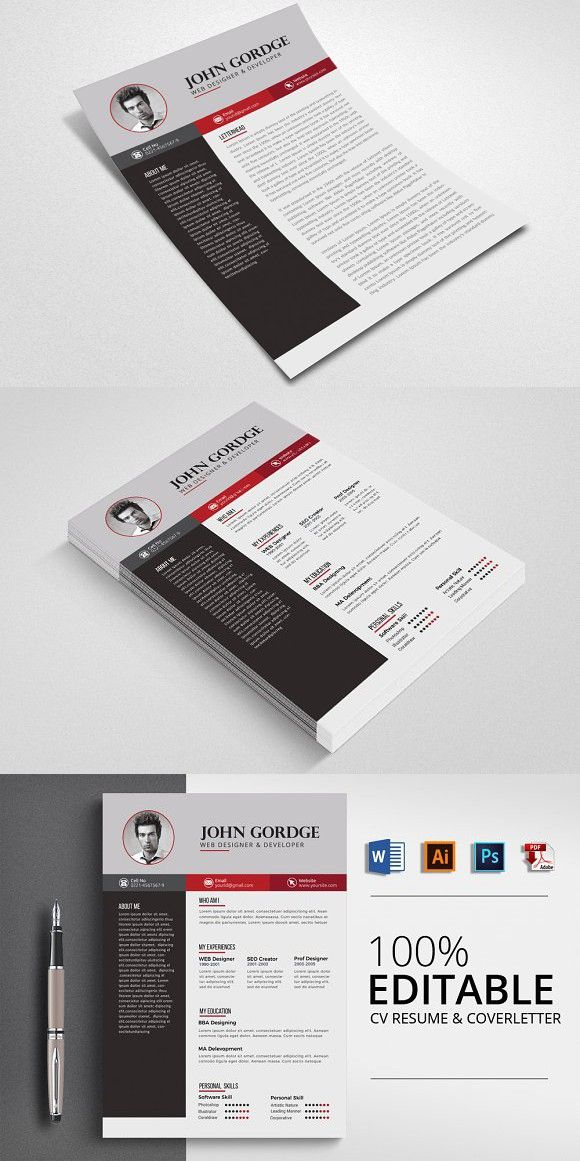CV Resume , Cover letter Template Stationery Templates Pinterest