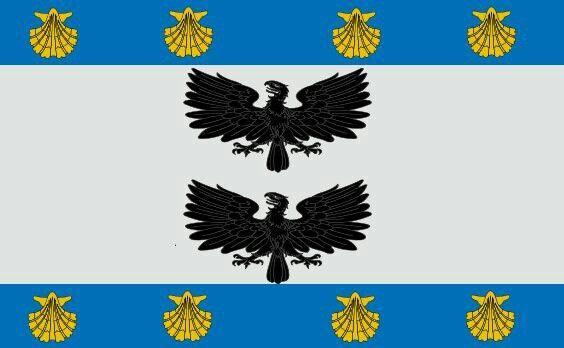 Bandera de la comuna de La reina. Santiago de Chile.