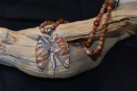 Cherry Creek Jasper Butterfly necklace by OneofaKindGemsJewels