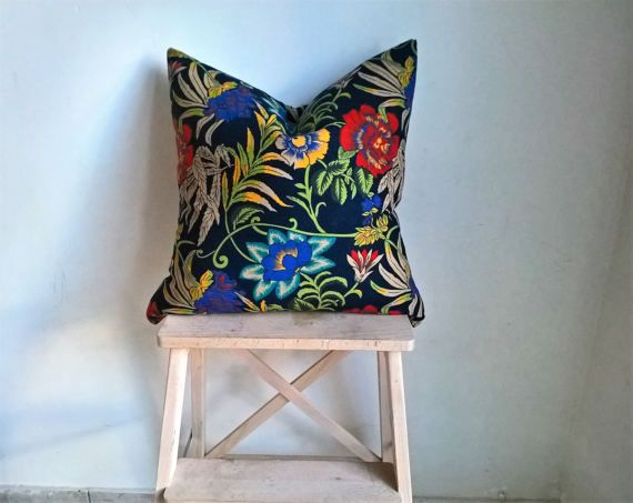 """Ready to ship 19"""" blue floral decorative pillow cover, throw pillow, spring themed cushion, couch, bedroom decor, yellow and purple flowers"""