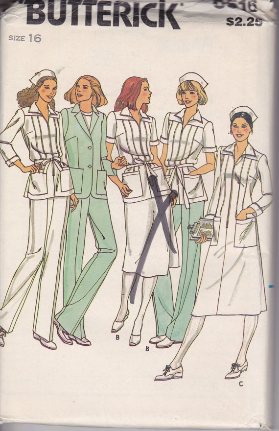 Vintage Nurses Uniform Sewing pattern -  I love the look of old nurses uniforms compared to scrubs