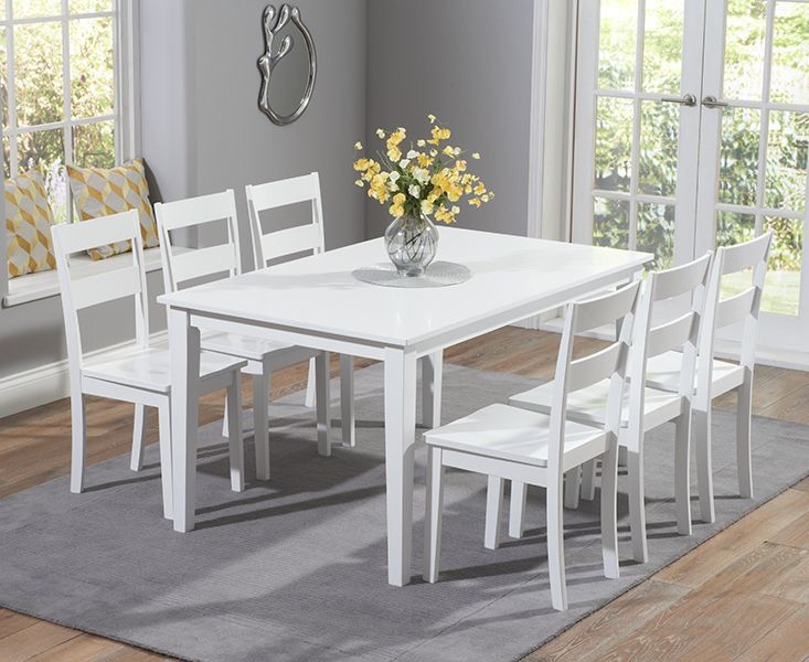 Buy the Chiltern 150cm White Dining Table Set with Chairs at Oak Furniture Superstore