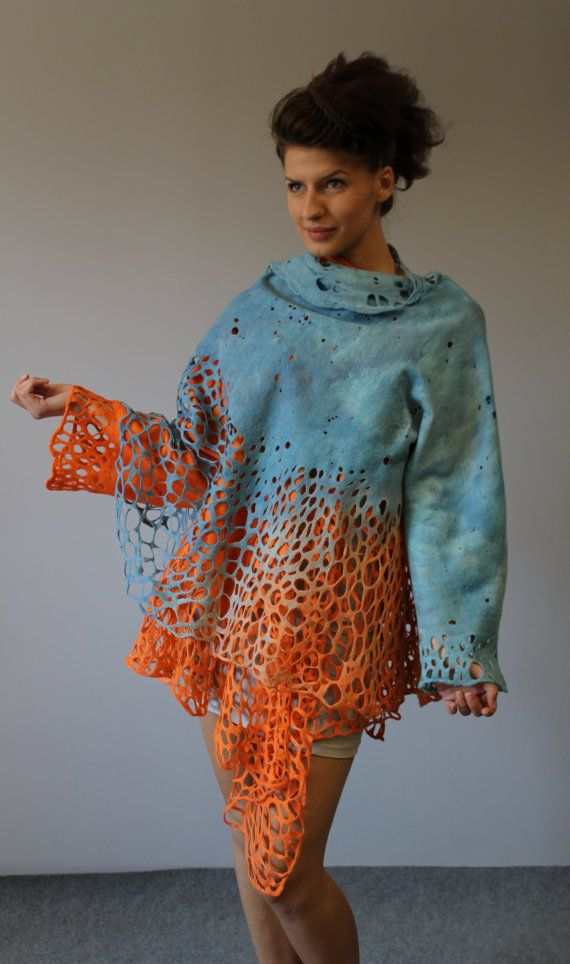 Felted jacket mantel Orange sky via Etsy