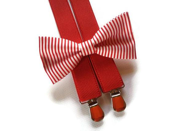 red stripped bow tie & red suspenders toddler nautical weding