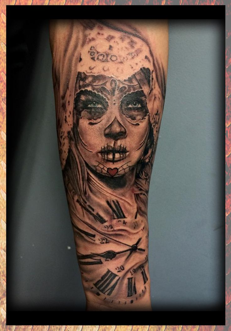 Day of the dead girl clock black for Eternal images tattoo