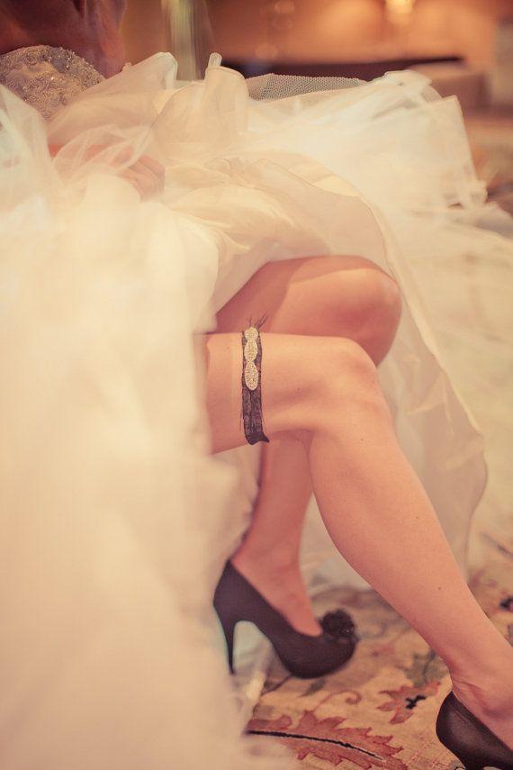 Bridal Garter Rhinestone Garter Wedding White by LuciaStofej