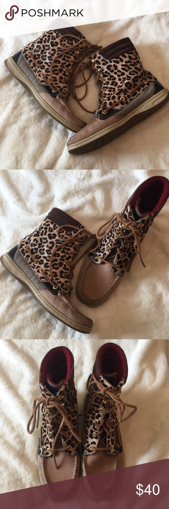Leopard Sperry Boots! Gently worn, still very clean!! Sperry Shoes Lace Up Boots