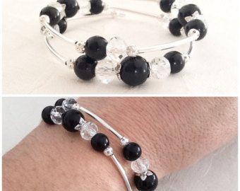 Brillantes joyas Rhinestone negro perla pulsera de por AMIdesigns