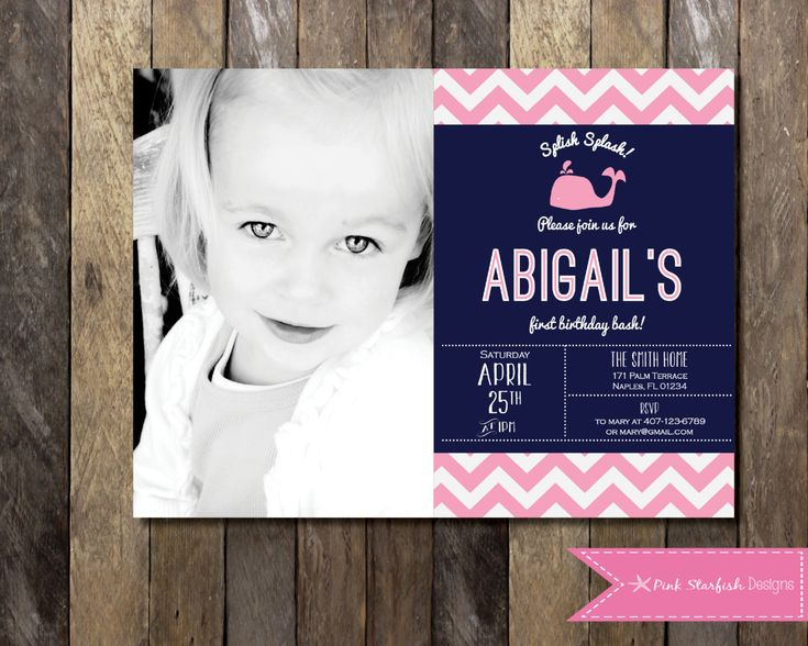 PRINTABLE First Birthday Invitation with Picture - Whale1st Birthday Invitation Nautical Invite - Girls Boys Birthday Party 4x6 or 5x7 by PinkStarfishDesigns on Etsy