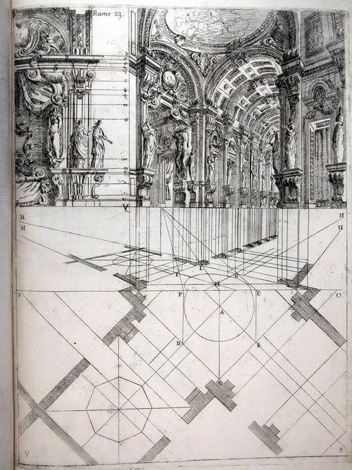 Ferdinando Galli de Bibiena, stage design showing a scena par angolo, 1711