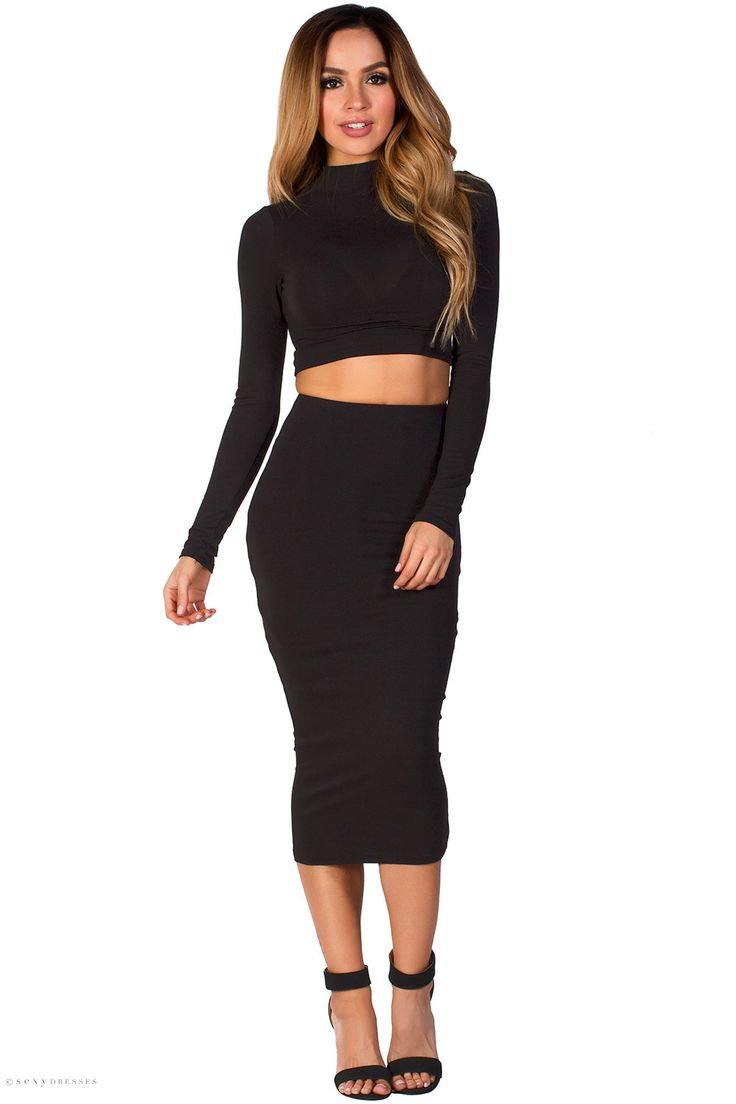 Jersey Black Long Sleeve Crop Top and High Waist Midi Pencil Skirt