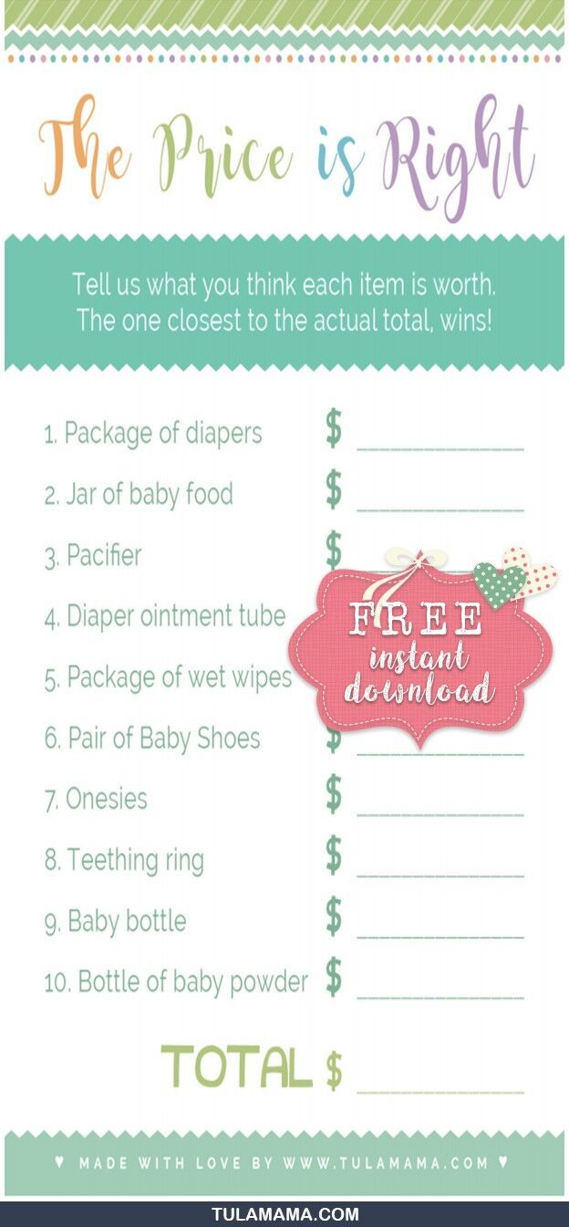 Only The Easiest Cutest Price Is Right Baby Shower Game Template