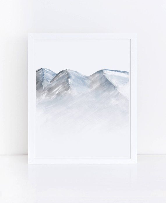 Watercolor Mountain Printable Art Mountain Print Blue Gray Wall