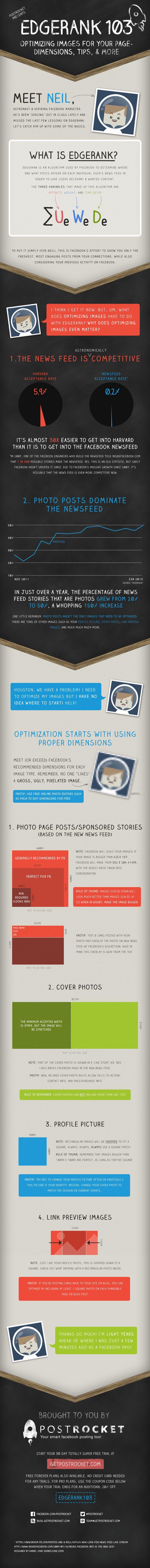 Facebook EdgeRank 103 – Optimizing Images for Your Facebook Page | PostRocket Blog [Infographic]  #facebook #edgerank