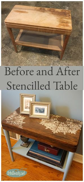 general finishes persian blue milk paint and stencil side table makeover stain refinishes roadside rescue