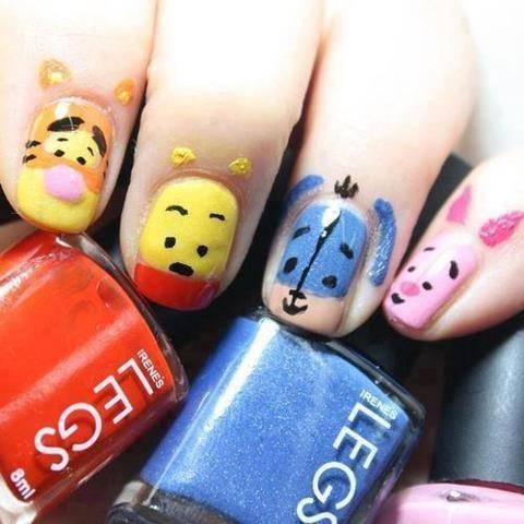 cute, nail arts, nail polish, nails #nails #winniethepoohnails