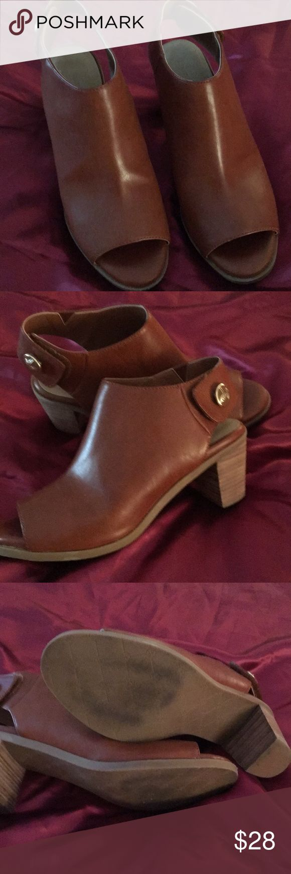 Lindsay Phillips Booties Camel color open toe Booties. Velcro closure. Like new condition. Lindsay Phillipd Shoes Ankle Boots & Booties