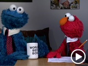"""hahahahaha...elmo with the shades..""""well cookie monster, that's just how the cookie crumbles."""" They both have red hair."""