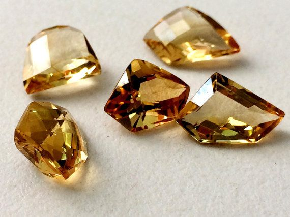 5 Pcs Citrine Cut Stone Lot Fancy Shape Faceted by gemsforjewels